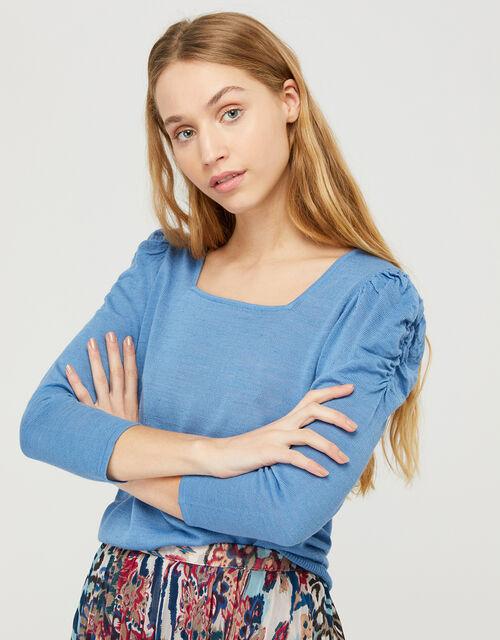 Rosa Ruched Sleeve Jumper in Linen Blend, Blue (BLUE), large