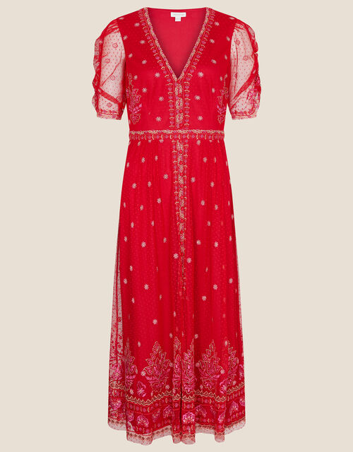 Danna Embroidered Mesh Midi Dress, Red (RED), large