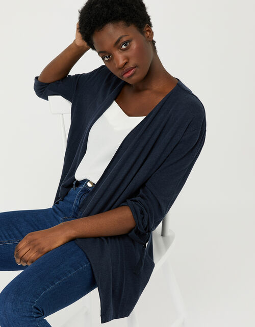 Callie Waterfall Cardigan in Linen Blend, Blue (NAVY), large