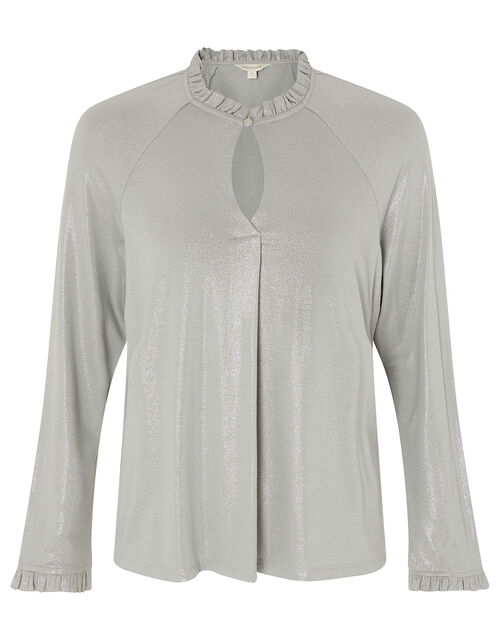 Gayle Shimmer Blouse with LENZING™ ECOVERO™, Grey (GREY), large
