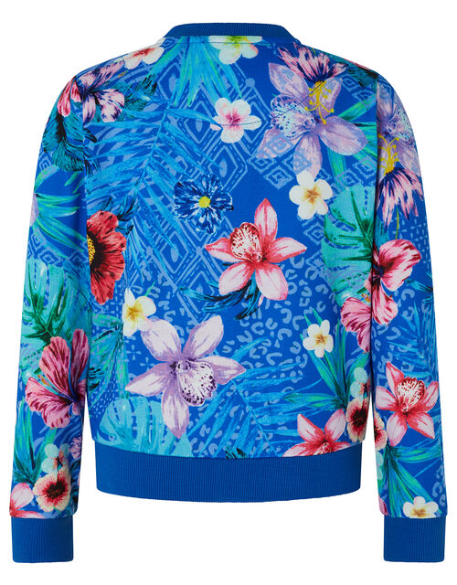 Tikoto Floral Bomber Sweat Jacket, Blue (BLUE), large