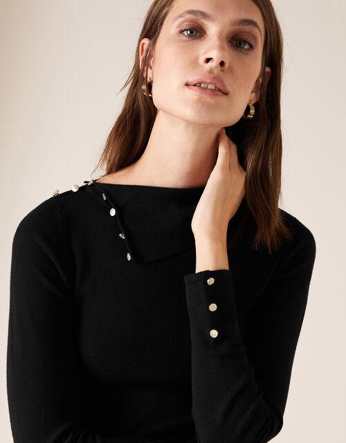 Split Neck Knit Jumper with Buttons, Black (BLACK), large