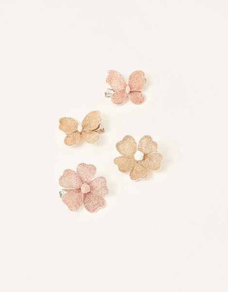 Glitter Flower and Butterfly Hair Clips, , large