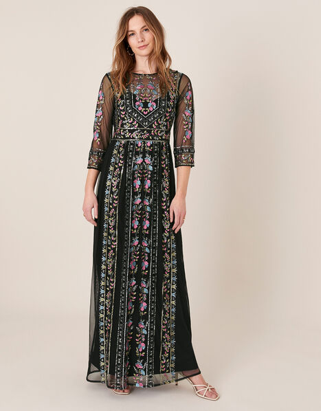 Florencia Embellished Maxi Dress Black, Black (BLACK), large