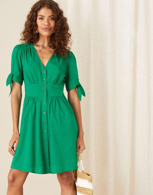 Button-Through Puff Sleeve Dress, Green (GREEN), large