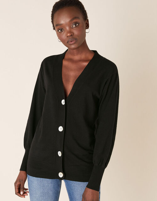 Pearly Button Cardigan, Black (BLACK), large