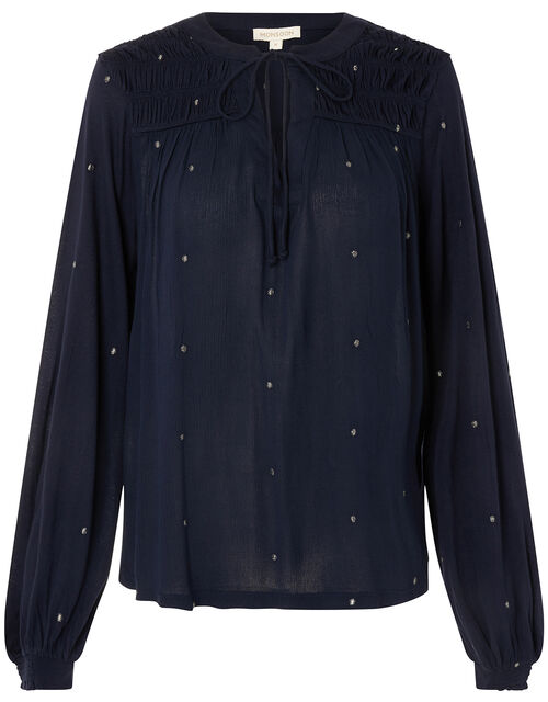 Embroidered Long Sleeve Blouse in LENZING™ ECOVERO™, Blue (NAVY), large