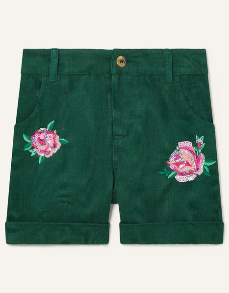 Floral Embroidered Cord Shorts Green, Green (GREEN), large