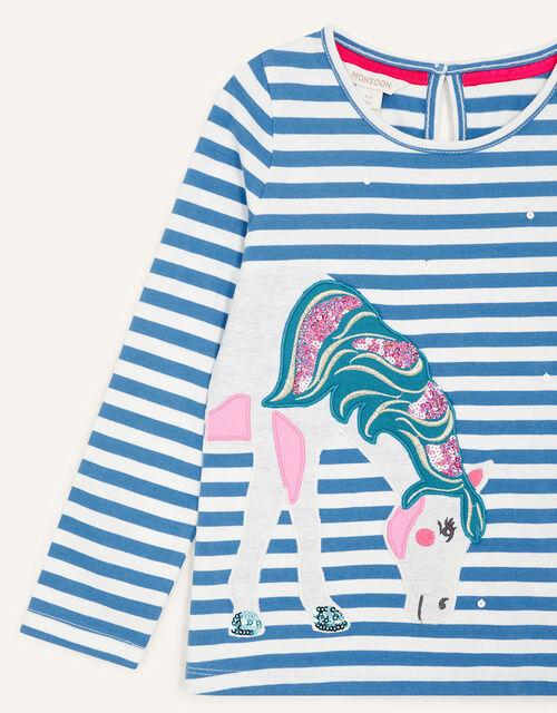 Applique Unicorn Top, Blue (BLUE), large