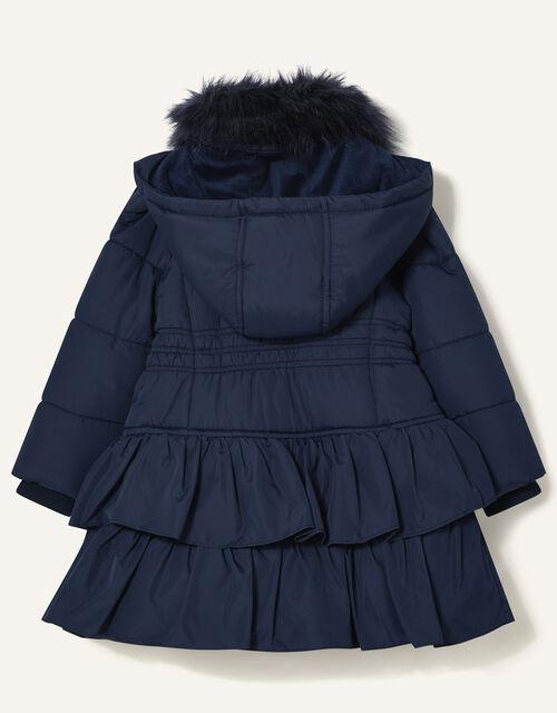 Shirred Ruffle Padded Coat, Blue (NAVY), large
