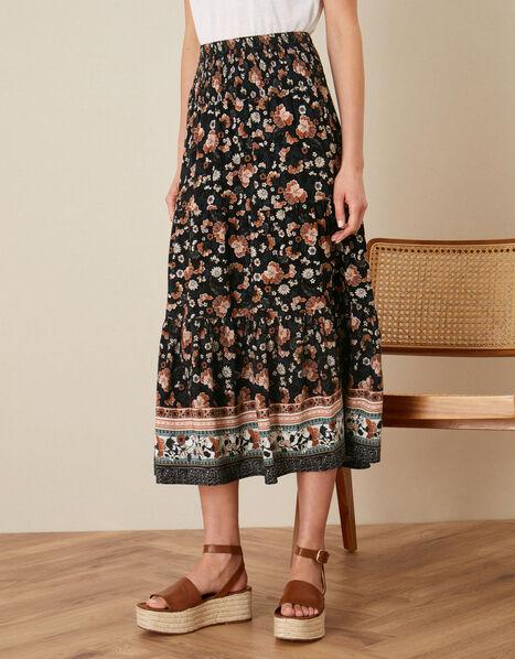 Caprice Shirred Waist Floral Skirt Black, Black (BLACK), large