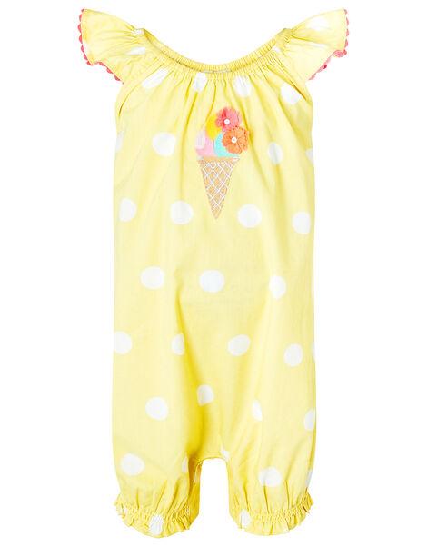 Newborn Baby Ice Cream Romper in Organic Cotton Yellow, Yellow (YELLOW), large