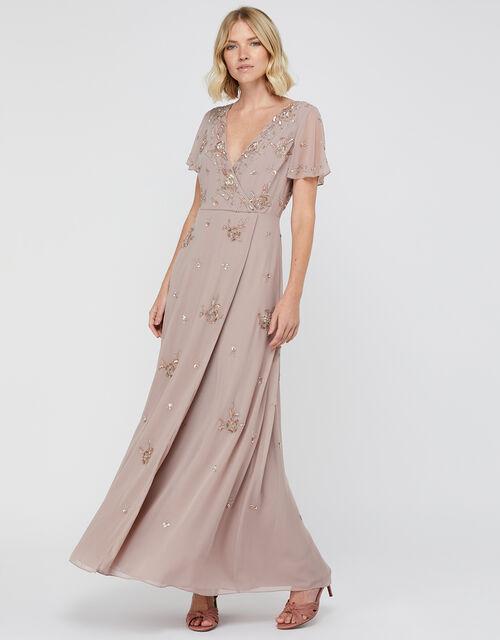 Winifred Embellished Wrap Occasion Dress, Mink (MINK), large