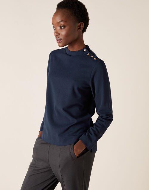 LOUNGE Hatty High Neck Button Top, Blue (NAVY), large