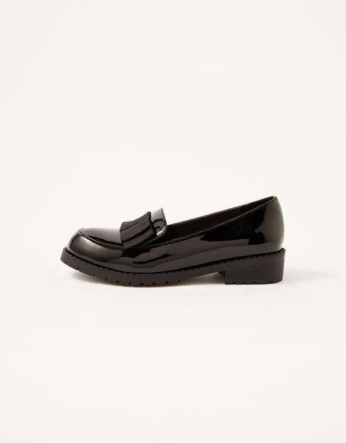 Grosgrain Bow Patent Loafers, Black (BLACK), large