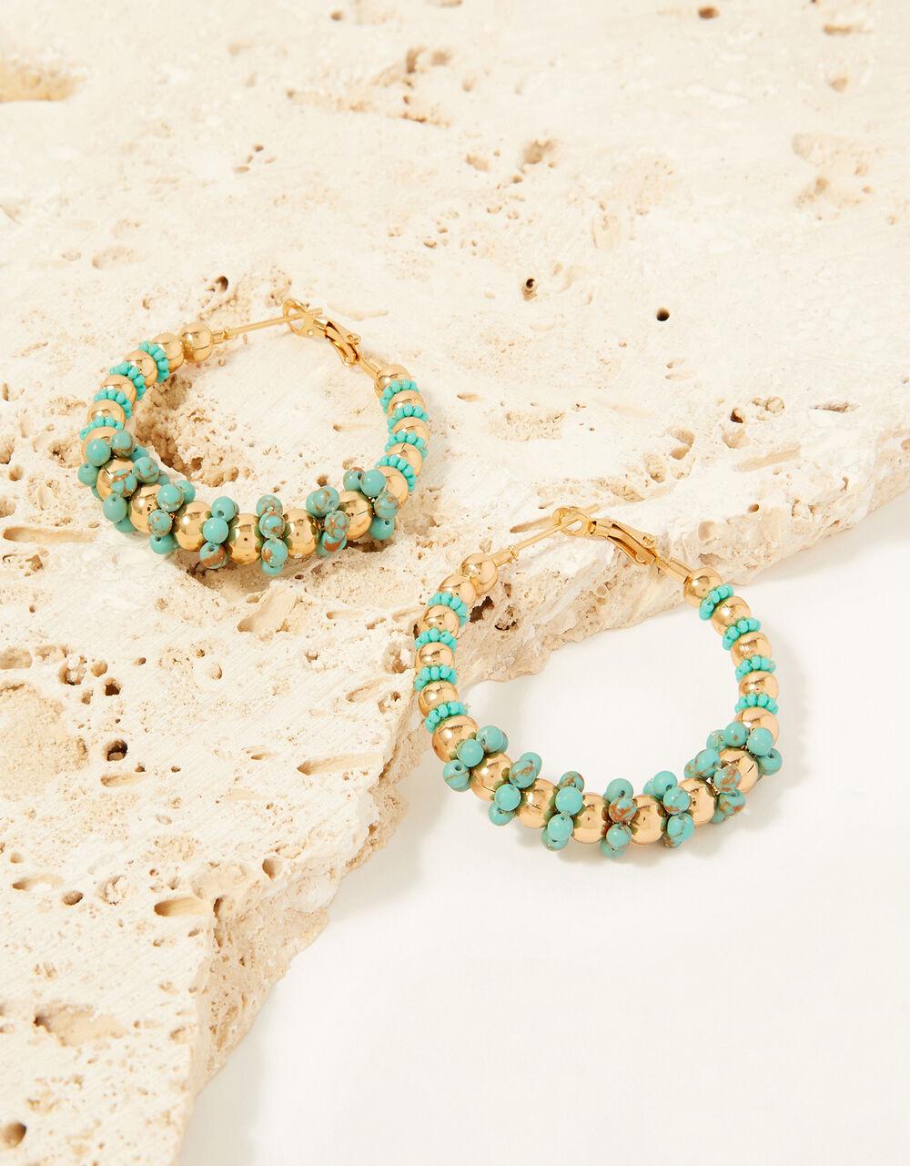 Bead Detail Hoop Earrings, , large