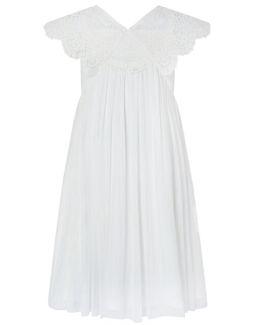 Zita Soft Tulle Maxi Dress with Crochet Neckline, Ivory (IVORY), large