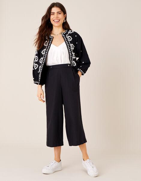 Cropped Trousers in Linen Blend Black, Black (BLACK), large