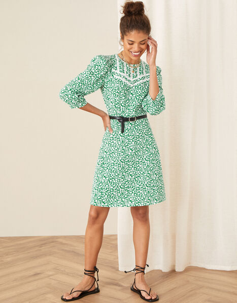 Mona Ditsy Floral Jersey Dress Green, Green (GREEN), large