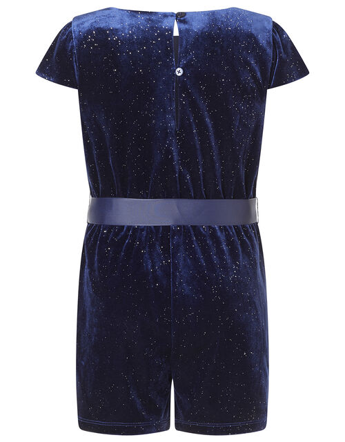Shimmer Velvet Playsuit with Recycled Fabric, Blue (NAVY), large