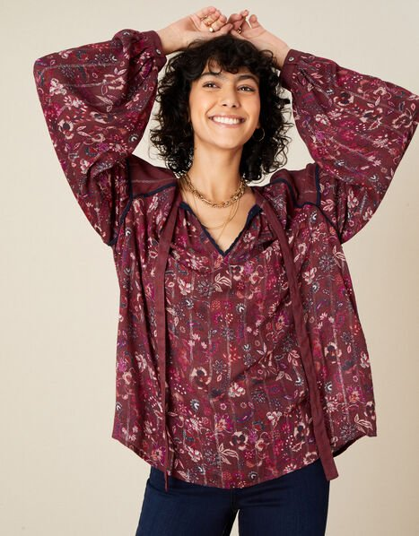 Indie Printed Tie Neck Blouse Red, Red (BERRY), large