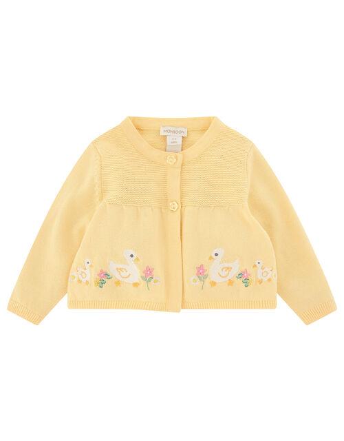 Newborn Baby Duckie Knitted Cardigan, Yellow (YELLOW), large