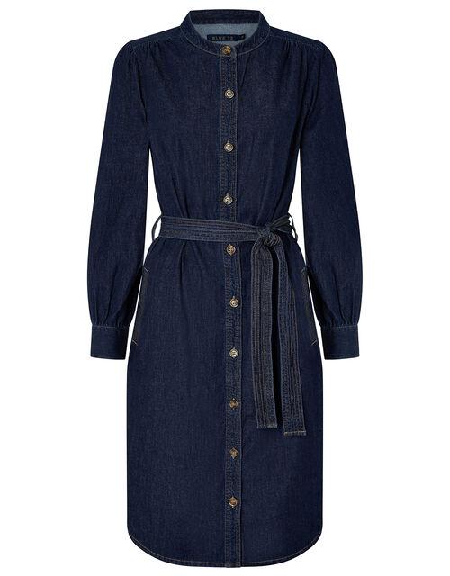 Nieve Denim Midi Dress in Organic Cotton, Blue (DENIM BLUE), large