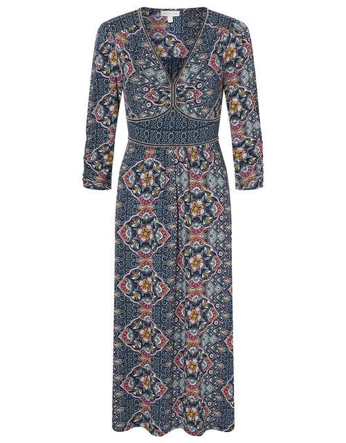 Julianna Heritage Print Dress with Organic Cotton, Blue (NAVY), large