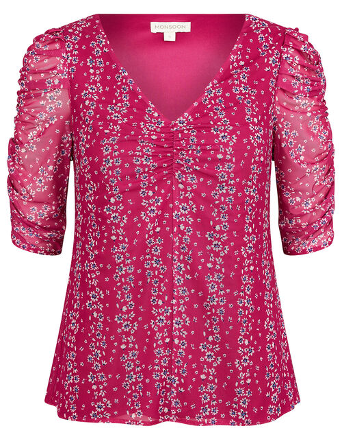 Fergie Floral Ruched Stretch Mesh Top, Pink (PINK), large