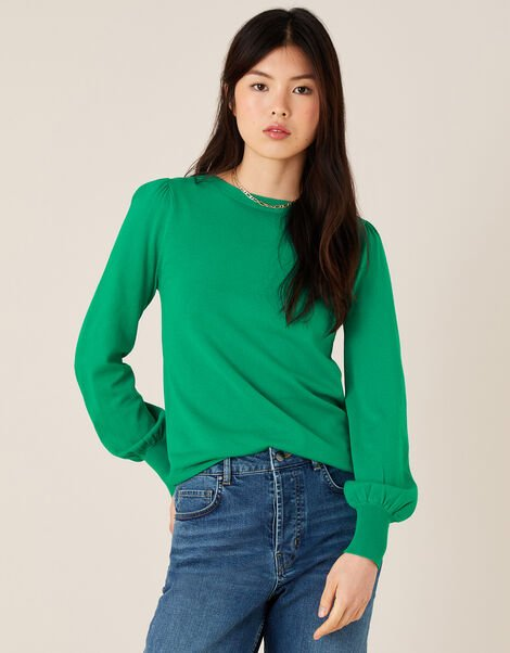 Button-Back Jumper with LENZING™ ECOVERO™ Green, Green (GREEN), large