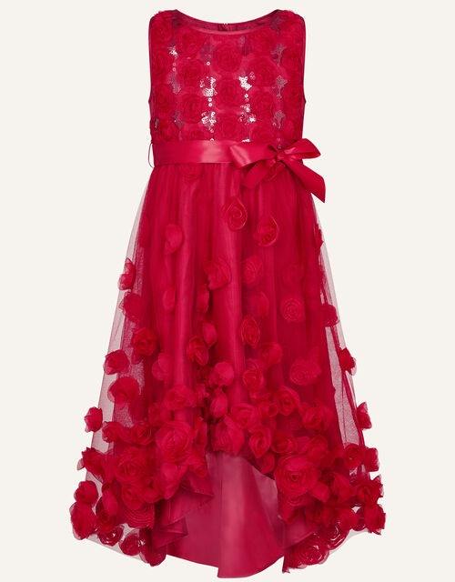 Sequin 3D Flower Dress, Red (RED), large