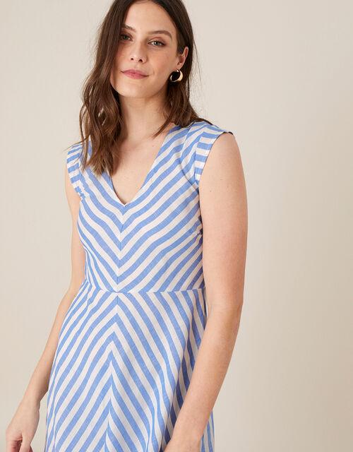 Stripe Midi Dress in Linen Blend, Ivory (IVORY), large