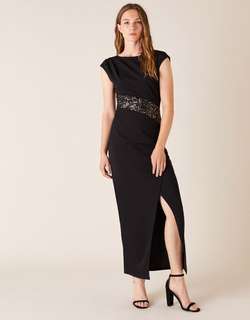 Olive Sleeveless Sequin Maxi Dress, Black (BLACK), large