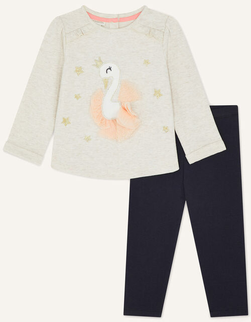 Baby Swan 3D Jersey Set, Camel (OATMEAL), large