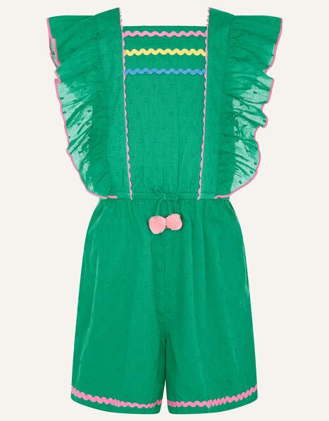 Fiesta Dobby Spot Ricrac Playsuit Green, Green (GREEN), large