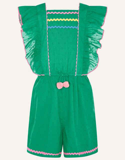 Fiesta Dobby Spot Ricrac Playsuit, Green (GREEN), large