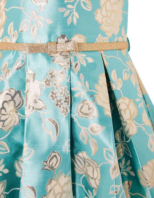 Rose Jacquard Dress, Blue (AQUA), large