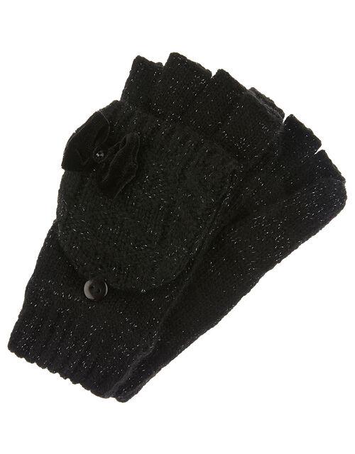 Stella Sparkle Cable Knit Capped Gloves, Black (BLACK), large