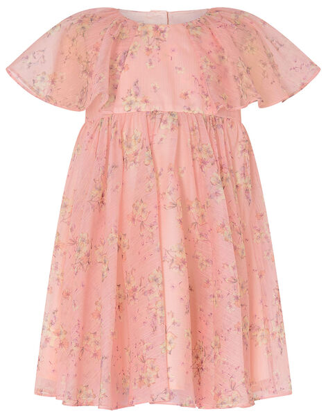 Baby Floral Pleated Chiffon Dress Pink, Pink (PALE PINK), large