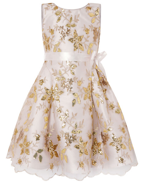 Floral Sequin Bow Back Dress Gold, Gold (GOLD), large