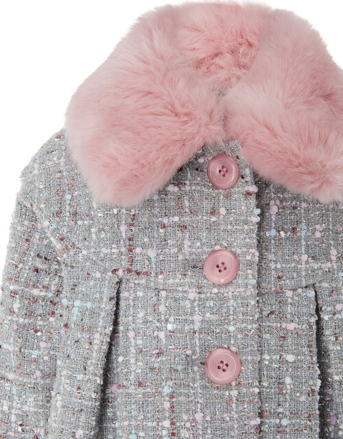 Baby Sparkle Tweed Coat, Grey (GREY), large