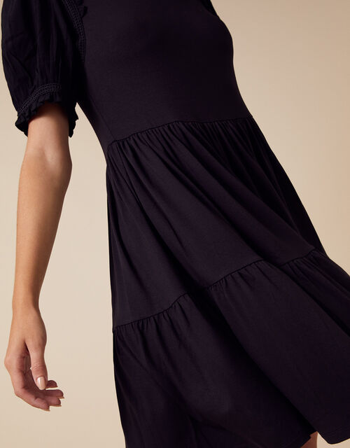 Woven Sleeve Jersey Smock Dress with LENZING™ ECOVERO™, Black (BLACK), large