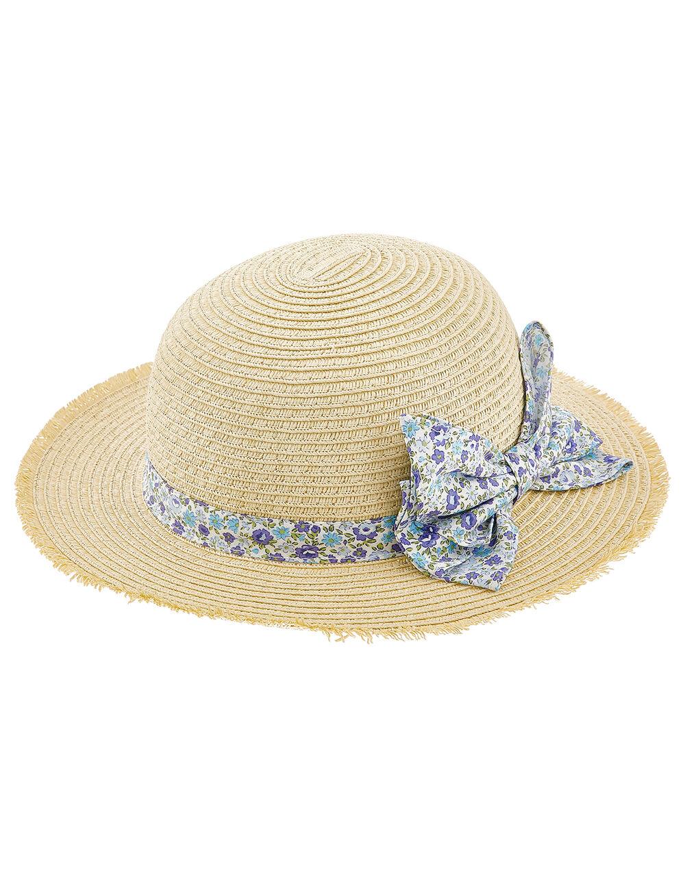 Baby Elsie Floral Bow Floppy Hat, Natural (NATURAL), large