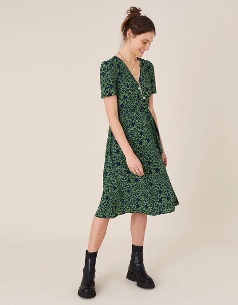 Printed Short Sleeve Wrap Dress Green, Green (GREEN), large