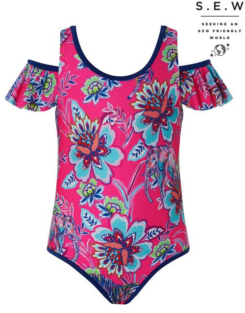 Karly Floral Cold-Shoulder Swimsuit with Recycled Polyester, Pink (PINK), large
