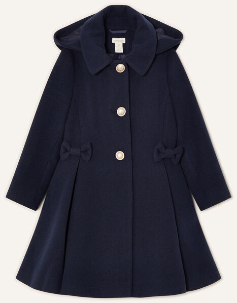 Back to School Hooded Coat Navy Blue, Blue (NAVY), large