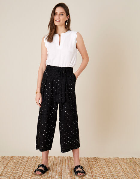 Pindot Scallop Crop Trousers Black, Black (BLACK), large