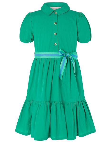 Puff Sleeve Belted Shirt Dress Green, Green (GREEN), large