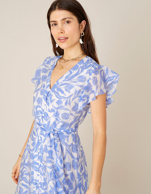 Tulip Print Midi Dress, Blue (BLUE), large