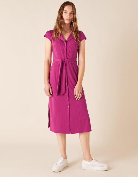 Brianna Jersey Midi Dress Pink, Pink (PINK), large